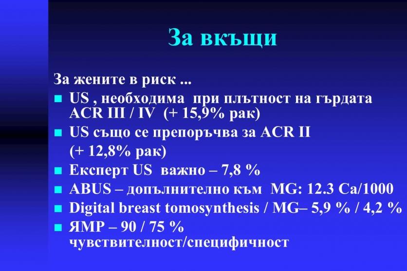 Плътните гърди - висок риск за развитие на карцином. 55